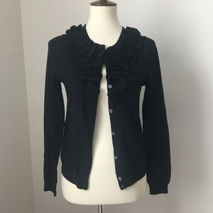 Black J. Crew Ruffle Merino Wool Cardigan Sweater